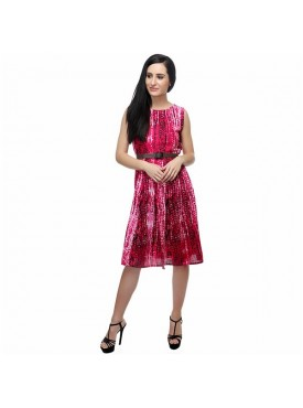 SGF Women Rayon Red Color Dress