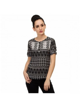 SGF Women Poly Crepe Black Color Top