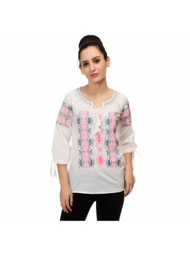 SGF Women Cotton White Color Top