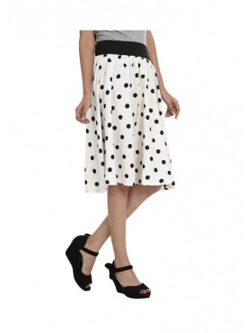 American-Elm Women White Regular Fit Printed Skirt