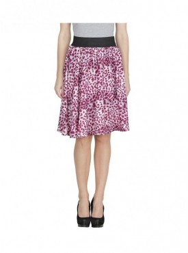 American-Elm Women Purple Regular Fit Printed Skirt