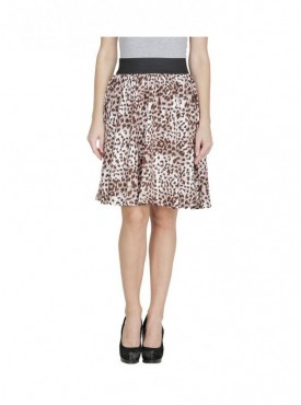 American-Elm Women Brown Regular Fit Printed Skirt