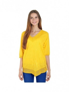 American-Elm Yellow Three Fourth Sleeves Top for Women