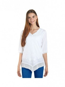 American-Elm Women White Embrodery Print Top