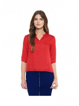American-Elm Red Sleeves Rayon Top for Women