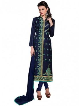Viva N Diva Navy Blue Colored Glace Cotton Suit