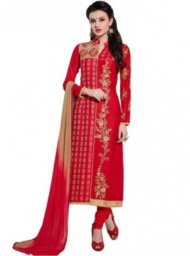 Viva N Diva Red Colored Glace Cotton Suit