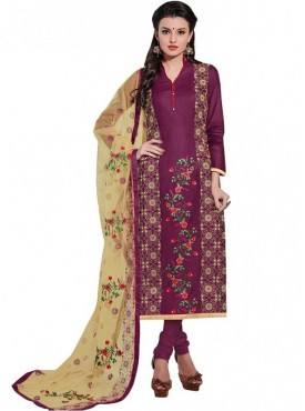 Viva N Diva Magenta Colored Glace Cotton Suit
