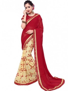 Viva N Diva Red & Cream Brasso And Royal chiffon Colored Saree