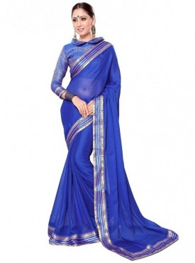 Viva N Diva Blue Colored Royal Chiffon Saree