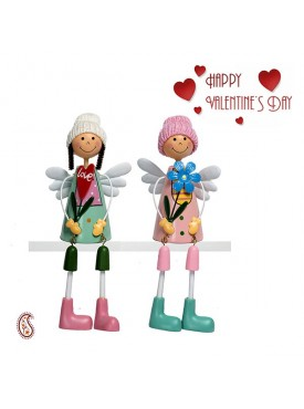 Lovely Green & Pink Shade Twin Dolls with Valentine's Card