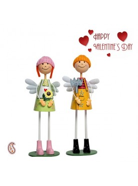 Green & Yellow Charming Twin Dolls with Valentine's Card