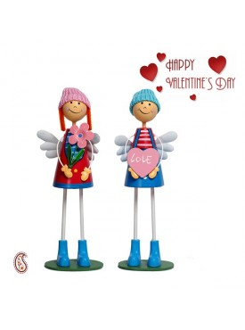 Multicolor Cute & Sweet Pair of Dolls with Valentine's Card