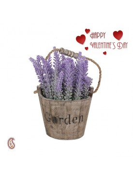 Charming Purple 24 CM High Artificial Flower Plant with Valentine's Card