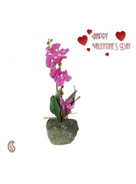 Beautiful Purple 32.5 CM High Artificial Floral Stick with Vase & Valentine's Card
