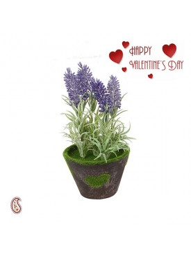 Beautiful Purple Long Sticks 18.5 CM Artificial Plant with Valentine's Card