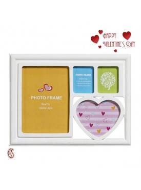 Sweet White 4 Pictures Collage Photo Frame with Valentine's Card