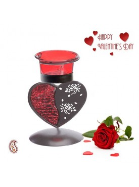 Charming Red & Smoky Heart Shape Candle Stand with Free Artificial Rose
