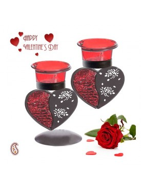 Heart Shape Beautiful Candle Stand with Free Valentine's Card