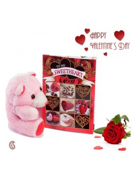 Cute Light Pink Teddy & Valentine's Card with Free Rose