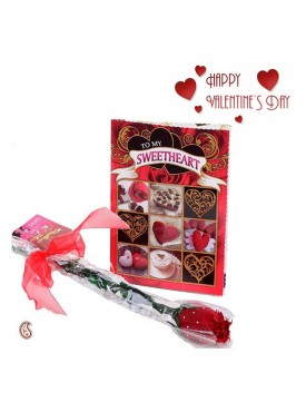 Lovable & Heart Expressive Valentine's Card with Free Rose