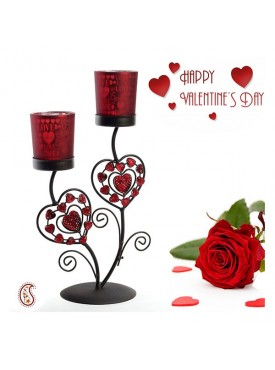 Beautiful Valentine Candleabra and Candle Holder with Free Artificial Rose