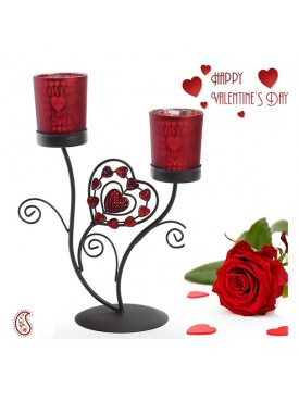 Love Fetched Frosted Glass Valentine Candle Holder with Free Artificial Rose