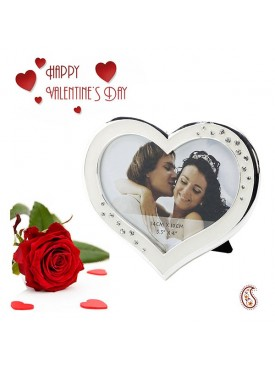 Engraved Heart Shaped Silver finished Picture Frame with Free Artificial Rose