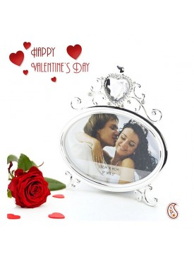 Beautiful Engraved Crystal Shine Photo Frame with Free Artificial Rose