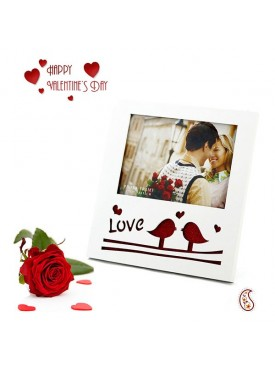 Love Birds Lacquer Finished Picture Frame with Free Artificial Rose