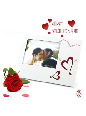 Love and Heart Engraved Lacquer finished Photo Frame with Free Artificial Rose