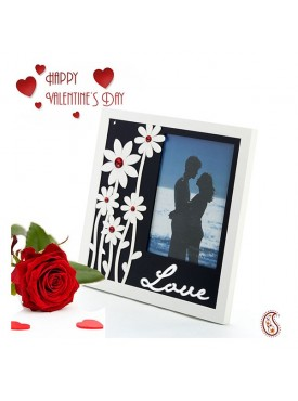 Floral and Love Reflective Glass Photo Frame with Free Artificial Rose