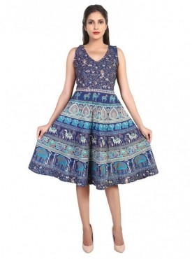 Women Cotton Printed Swing Dress