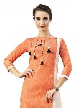 Women's & Girl'S  Digital Printed Poly Cotton Orange Stitched Kurti