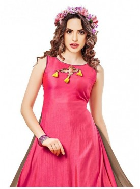 Women's & Girl'S  Digital Printed Poly Cotton Pink Stitched Kurti