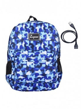 Zepax Printed USB Charging Port Casual BackPack