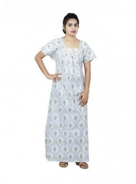 Floral design Square neck cotton nighty for ladies