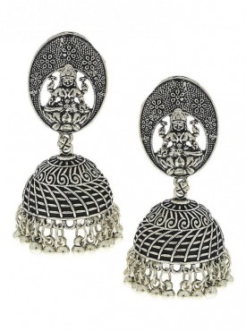 Silver Finish With Goddess Laxmi Designer Oxidised Earrings