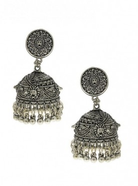 Silver Finish Wonderful Carved Design Oxidised Earrings
