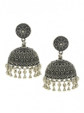 Silver Finish Simple & Stylish Designer Oxidised Earrings
