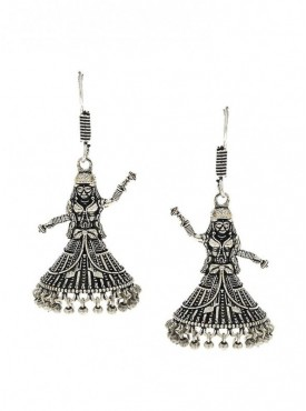 Silver Finish Styled With Dancing Doll Fancy Oxidised Earrings