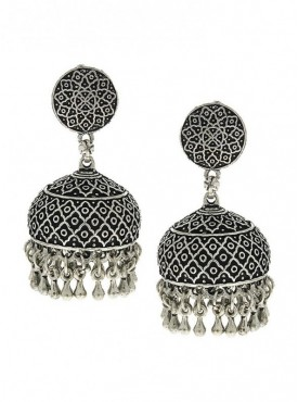 Silver Finish Carved Design Stylish Wonderful Oxidised Earrings
