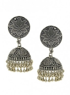 Silver Finish Carved Design Stylish Oxidised Earrings