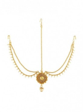 Golden Finish Stylish Royal Look Traditional Mang Tikka