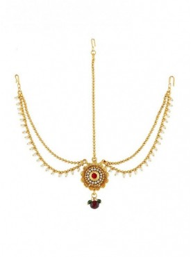 Golden Finish Studded Maroon Colour Stone Traditional Mang Tikka
