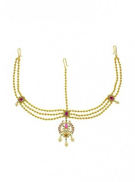 Pink-Green American Diamonds Designer Traditional Maang Tikka
