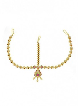 Gold Finish American Diamonds Stone Traditional Maang Tikka