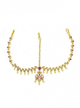 Pink Colour American Diamonds Designer Traditional Maang Tikka
