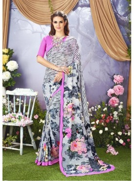 YNF Faux Georgette Floral Print Grey Saree