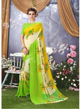 YNF Faux Georgette Floral Print Cream Saree